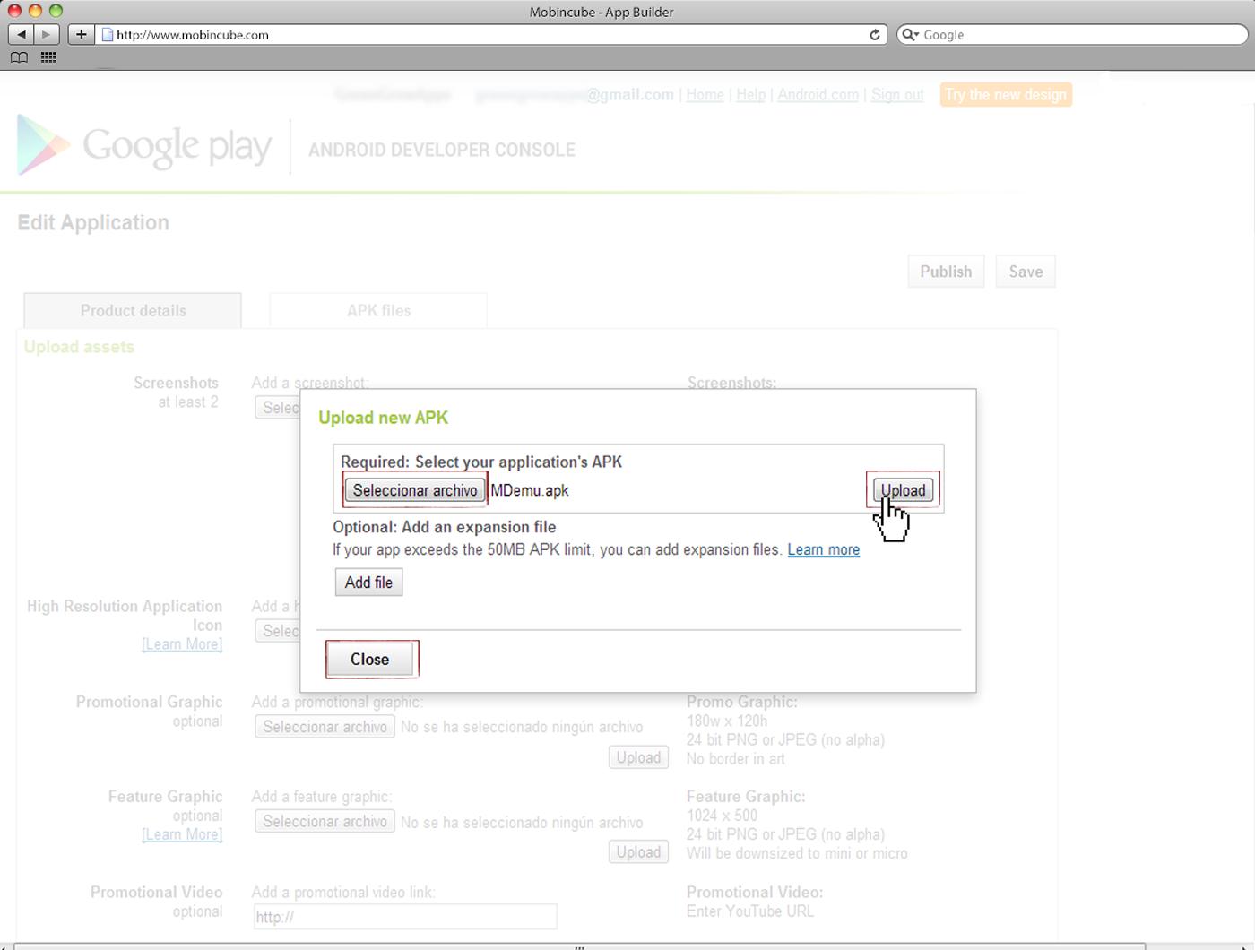publica en google play